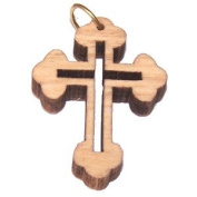 Olive wood Eastern Cross Laser Pendant