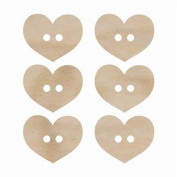 Kaisercraft FL473 Laser Cut Wood Flourish, Heart Buttons, 6-Pack Multi-Coloured