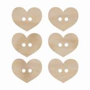 Wood Flourishes-Heart Buttons 6/Pkg