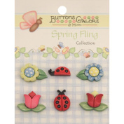 Spring Buttons-Flowers & Ladybugs