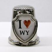 Souvenir Thimble - I love WY - Wyoming