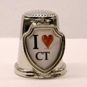 Souvenir Thimble - I love CT - Connecticut