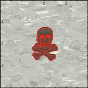 Skull & Crossbones Red on Army Green Embroidered Iron On Applique Patch 3.8cm