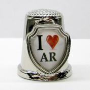 Souvenir Thimble - I love AR - Arkansas