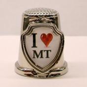 Souvenir Thimble - I love MT - Montana