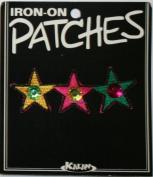 3 Stars Jewel Iron On Applique Patch
