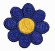 2.5cm Daisy Hippie Flower Embroidered Iron on Applique Patch FD - Dark Blue with Yellow Centre