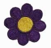 2.5cm Daisy Hippie Flower Embroidered Iron on Applique Patch FD - Purple with Yellow Centre