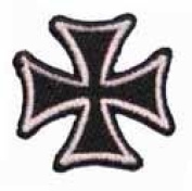 2.5cm Maltese Cross Embroidered Iron On Biker Applique Patch FD - White