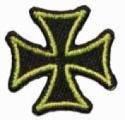 2.5cm Maltese Cross Embroidered Iron On Biker Applique Patch FD - Green