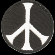 Black & White Peace Symbol Iron On or Sew On Patch
