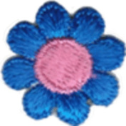 Daisy Flower - Dark Blue with Pink Centre - Embroidered Sew or Iron on Patch