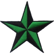 """ Nautic Star "" Iron On Patch Black/Green"