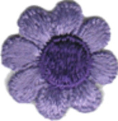 Daisy Flower - Light Purple with Dark Centre - Embroidered Sew or Iron on Patch