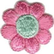 Daisy Flower - Pink with Mint Green Centre - Embroidered Sew or Iron on Patch
