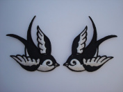 Black/White Tattoo Sparrow Swallow Emo Punk Motorcycle Biker Racing B01 Embroidered Sew or Iron on Patch