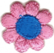 Daisy Flower - Pink with Blue Centre - Embroidered Sew or Iron on Patch