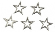 Star - 2.2cm Silver Open Star (5 Pc)Iron On Embroidered Applique/Trim, Accents