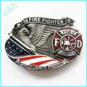 Brand:e & b New Western 3d Us Fire Fighter Enamelled Belt Buckle 3d-039