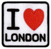 "I Love London Embroidered Patch 5cm X 4.5cm (2"" X 1 3/4"") approx"