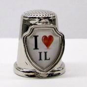Souvenir Thimble - I love IL - Illinois