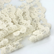 Wholeport 9.9cm Beige Lace Trim Cotton Embroidery Wedding Fabric By the Yard