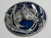 Brand:choi Western Single Horse Head Horseshoe Lucky Enamelled Belt Buckle Wt-058bl