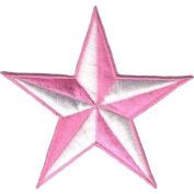 """ Nautic Star "" Iron On Patch Pink/White"