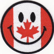 Smiley Happy Face Canada Flag Embroidered Iron on Patch S37