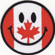 Smile Smiley Happy Face Canada of Flag Iron on Patch (Su001) Logo for Dry Clothing ,Jacket ,Shirt ,Cap Embroidered Iron on Patch ,By Sugar99shop