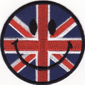 Smile Smiley Happy Face Union Jack Embroidered Iron on Patch S41