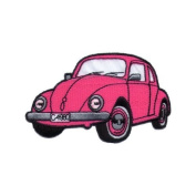 """ VW Beetle "" Iron On Patch Small Pink"