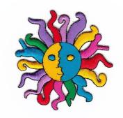 """"""" Sun """" Iron On Patch Multi Colour"""