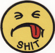 Shit Smiley Happy Face Embroidered Iron on Patch S36