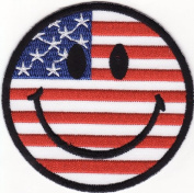 Smiley Happy Face America Flag Embroidered Iron on Patch S38