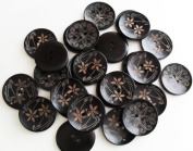 Pack of Wooden Buttons Sewing Painting with 2 Holes Mix 2 Beautiful Designs, 33mm Button
