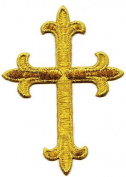 Gold Metallic Fleur De Lis Iron On Embroidered Religious Cross Patch 10cm