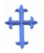 Sky Blue Fleur De Lis Iron On Embroidered Religious Cross Patch 10cm