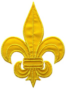 Yellow Fleur de Lis Scout DIY Applique Embroidered Sew Iron on Patch