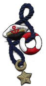 Nautical/Captain Hat, Preserver, Star & Navy Rope- Iron On Embroidered Applique
