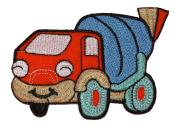 Cute Cartoon Concrete Mixer Truck Orange DIY Applique Embroidered Sew Iron on Patch