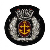 Silver Olive Branch Anchor Crown Marine Sailor Badge DIY Applique Embroidered Sew Iron on Patch