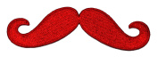 Red Moustache DIY Embroidered Sew Iron on Patch