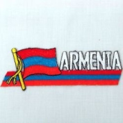 Armenia Sidekick Word Country Flag Iron on Patch Crest Badge .. 3.8cm X 11cm ... New