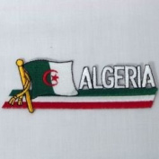 Algeria Sidekick Word Country Flag Iron on Patch Crest Badge .. 3.8cm X 11cm ... New