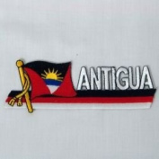 Antigua & Barbuda Sidekick Word Country Flag Iron on Patch Crest Badge .. 3.8cm X 11cm ... New