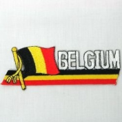 Belgium Sidekick Word Country Flag Iron on Patch Crest Badge .. 3.8cm X 11cm ... New
