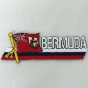 Bermuda Sidekick Word Country Flag Iron on Patch Crest Badge .. 3.8cm X 11cm ... New