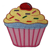 Cute Pink Cupcake Cake Bakery Retro Vintage Design DIY Applique Embroidered Sew Iron on Patch