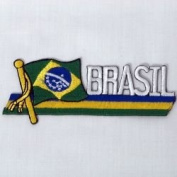 Brazil Brasil Sidekick Word Country Flag Iron on Patch Crest Badge .. 3.8cm X 11cm ... New